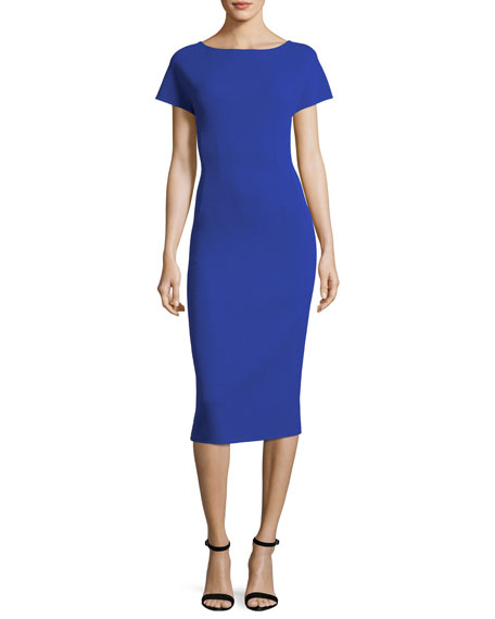 Short-Sleeve Scoop-Back Dress