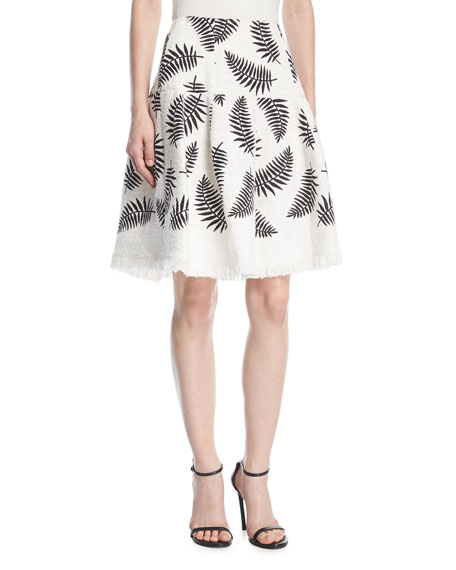 Leaf-Embroidered Party Skirt