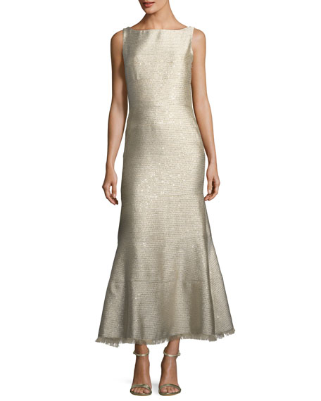 Sequined Tweed Midi Cocktail Dress