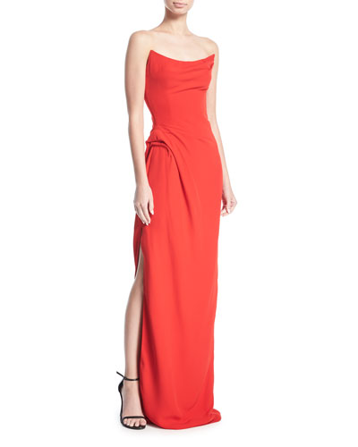 Scooped Strapless Side-Slit Gown