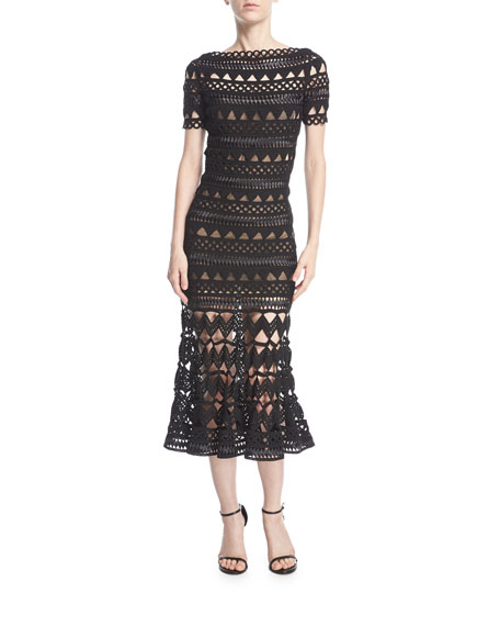 Triangle Caged Silk Cocktail Midi Dress