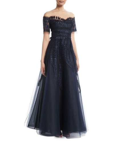Short-Sleeve Embellished Tulle Ball Gown
