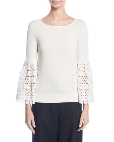 Crochet-Sleeve Knit Top