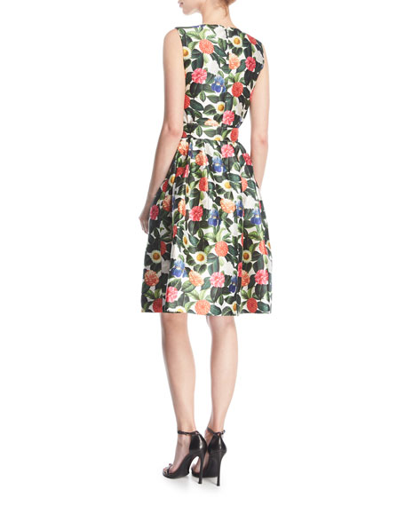 Belted Floral Jacquard Day Dress