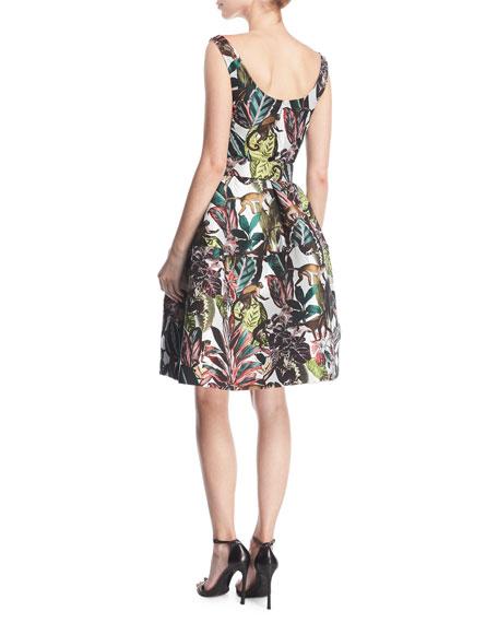 Sleeveless Jungle Jacquard Dress