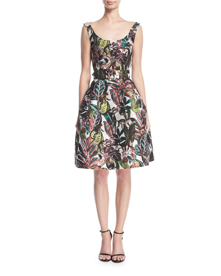 Sleeveless Jungle Jacquard Dress