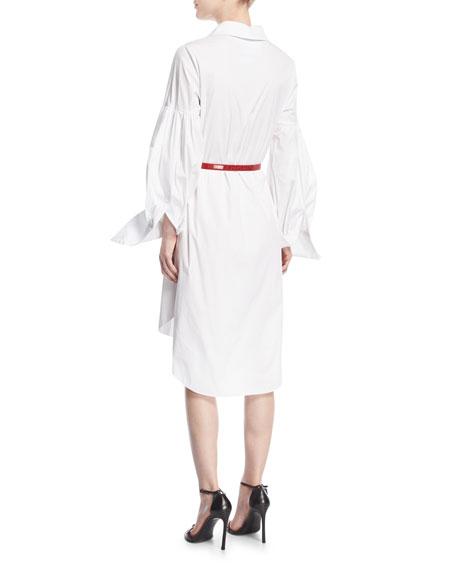 Long-Sleeve Poplin Shirtdress
