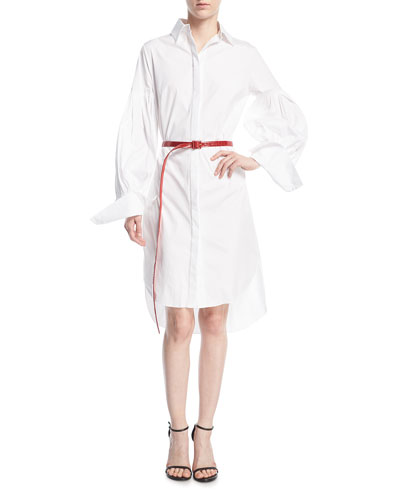 Long-Sleeve Poplin Shirtdress