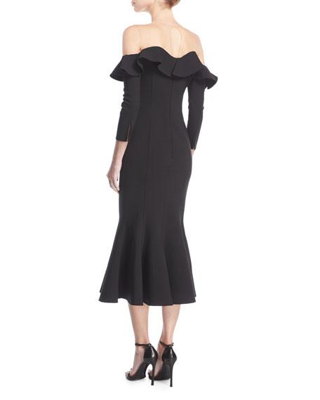 Flounced Off-Shoulder Illusion Midi Dress