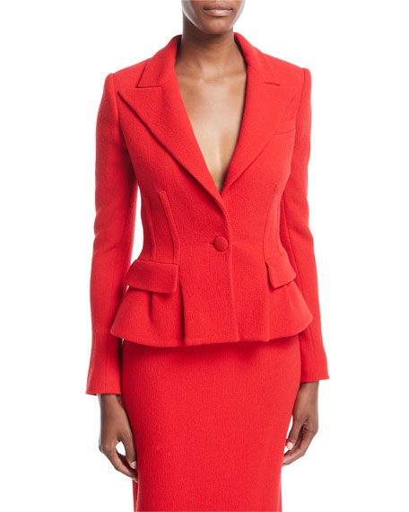 Virgin Wool Peplum Blazer Jacket