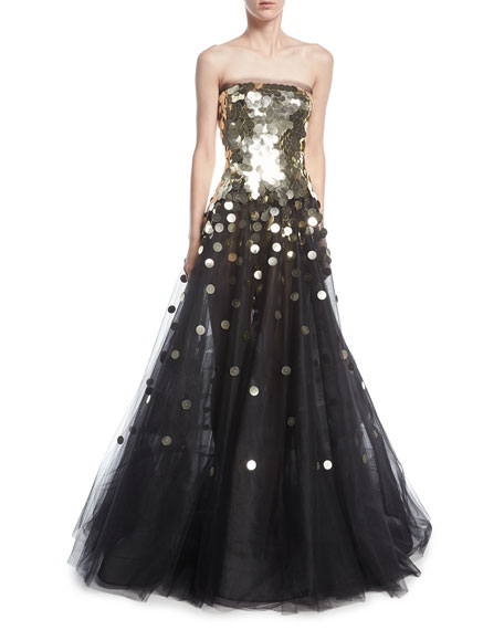 Oscar De La Renta Strapless Sequined Tulle Ball Gown