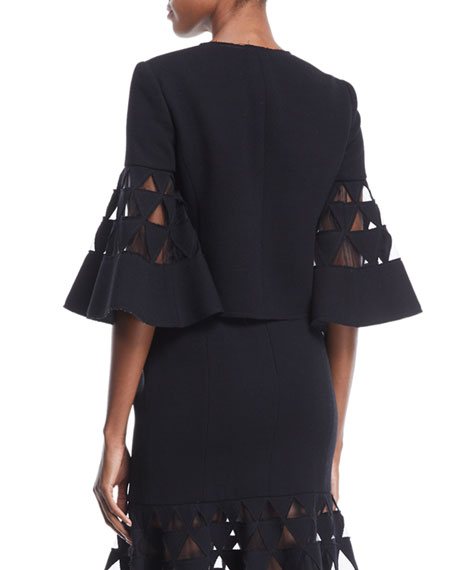 3/4- Flare Sleeve Triangle Cutout Jacket