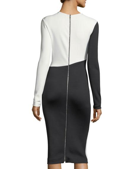 Asymmetric Cutout Two-Tone Dress