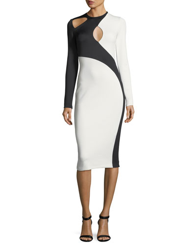Asymmetric Cutout Two-Tone Dress