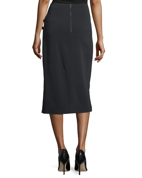 Side-Slit Cady Button-Trim Skirt
