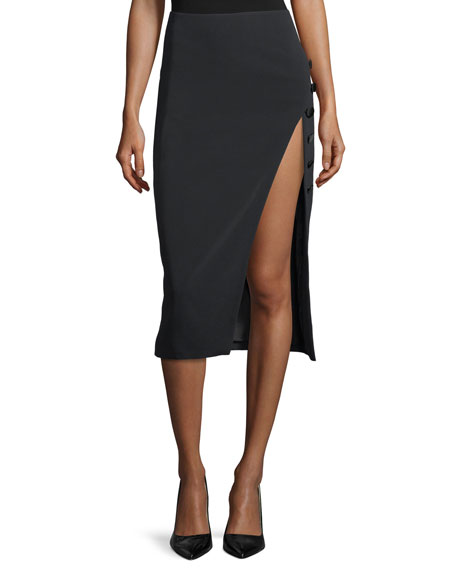 Side-Slit Cady Button-Trim Skirt