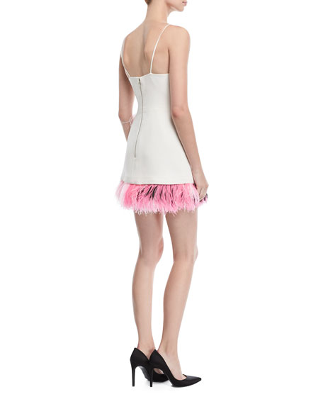 Feather-Trim Mini Cocktail Dress