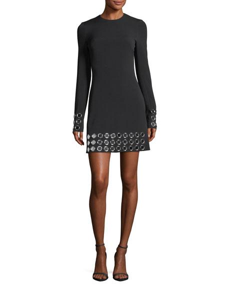 Long-Sleeve Mirror Studded Dress