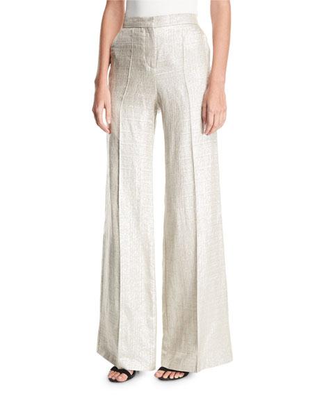 Wide-Leg Metallic Silk/Linen Pants