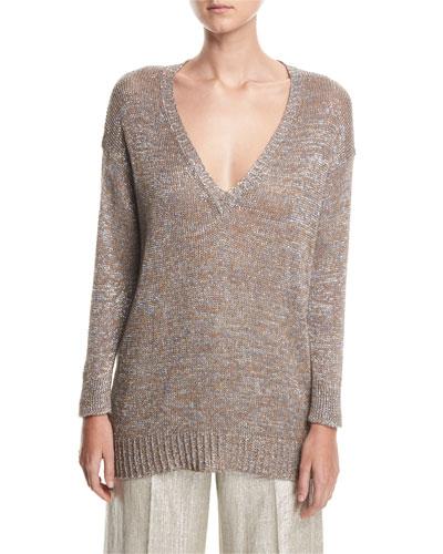 Metallic V-Neck Open-Weave Beach Sweater Tunic