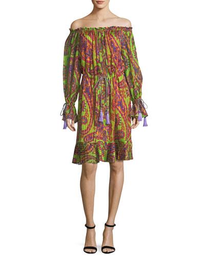 Neon Psychedelic-Print Dress w/ Tassels