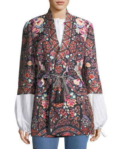 Lily Paisley Open Caban Jacket