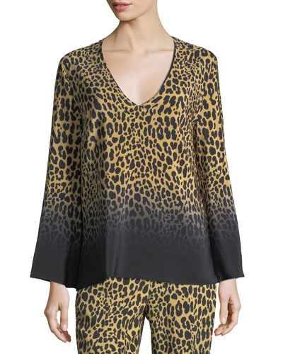 Ombre Leopard-Print Silk V-Neck Top