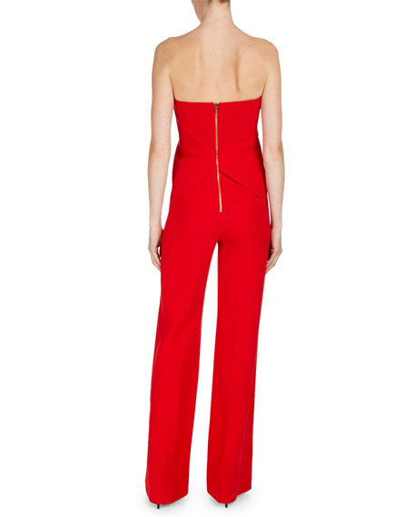 Strapless Wide-Leg Jumpsuit with Golden Zip