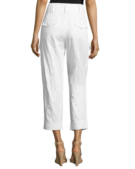 Cropped Straight-Leg Cargo Pants