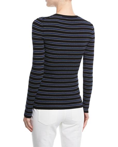 Long-Sleeve Crewneck Striped Rib-Knit Sweater