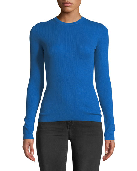 Crewneck Long-Sleeve Ribbed Cashmere Top