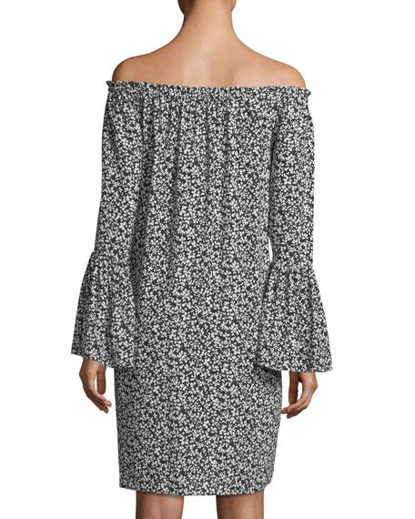 Off-the-Shoulder Mini Floral-Print Shift Dress