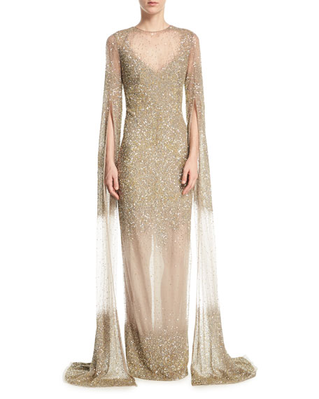Ombre Sequin Split-Sleeve Illusion Gown