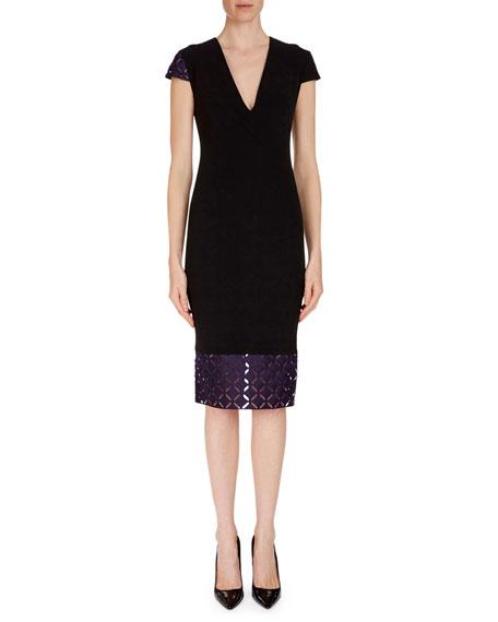 Cap-Sleeve Lace-Hem Dress