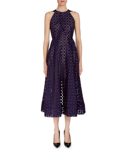 Geometric Open-Back Midi Dress