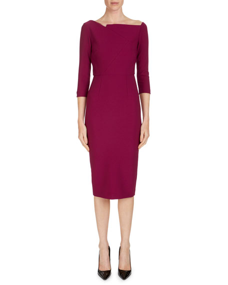 3/4-Sleeve Wide-Neck Sheath Dress