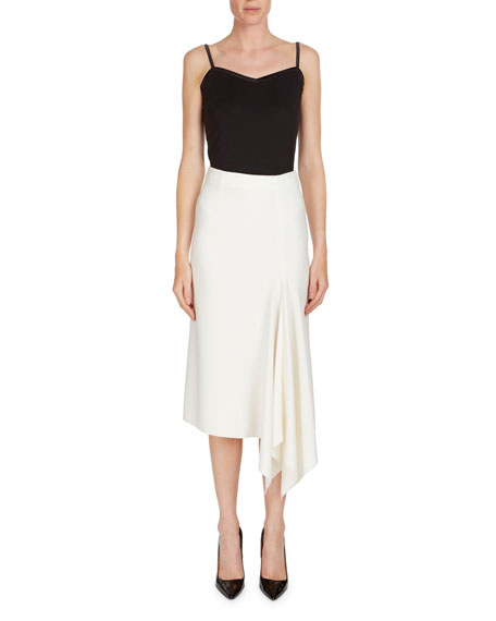 Morpeth Crepe Pencil Skirt w/ Asymmetric Side Drape