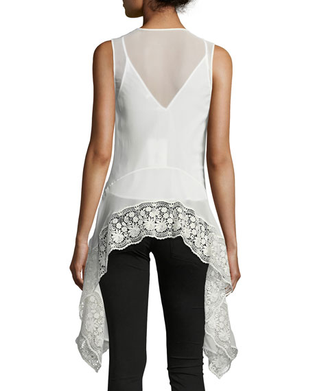 Lace-Trim V-Neck Handkerchief Top