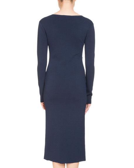 Long-Sleeve Button-Side Dress