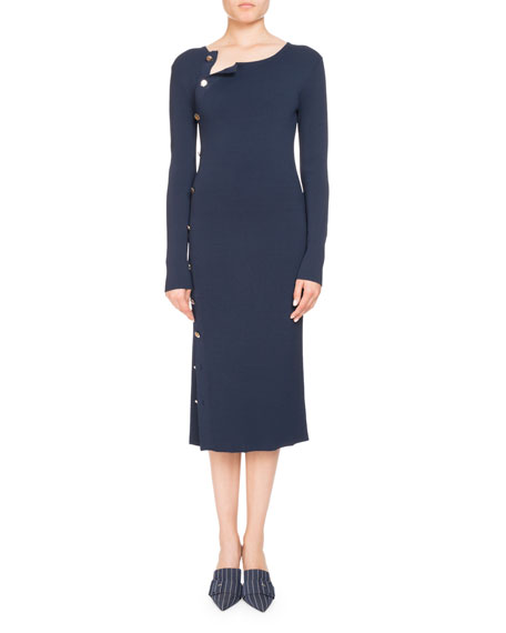 Long-Sleeve Button-Side Dress