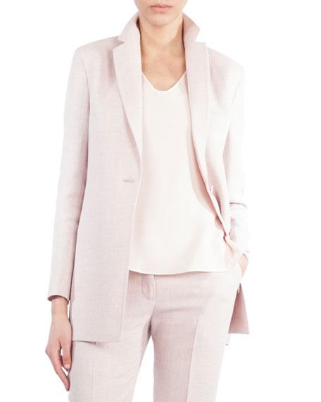 Single-Button Linen-Wool Jacket