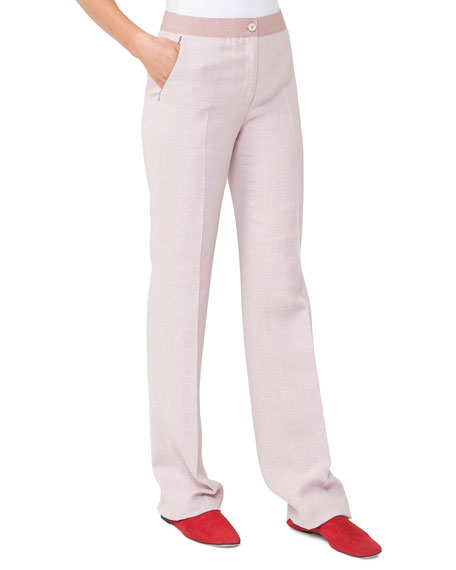 Linen-Wool Straight-Leg Pants