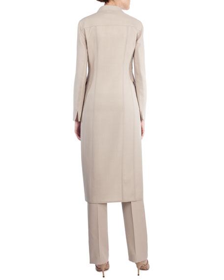 Long Stretch-Wool Coat