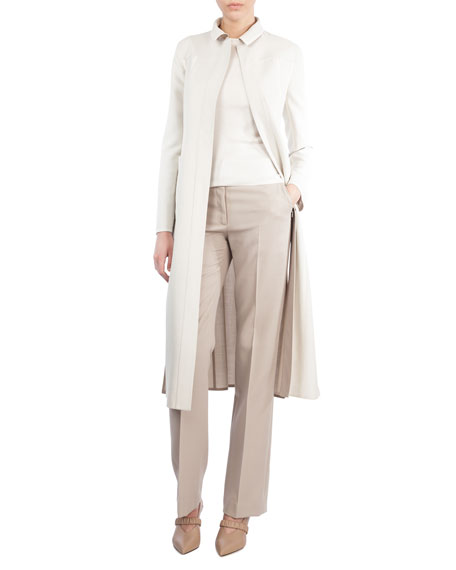 Long Stretch-Wool Coat