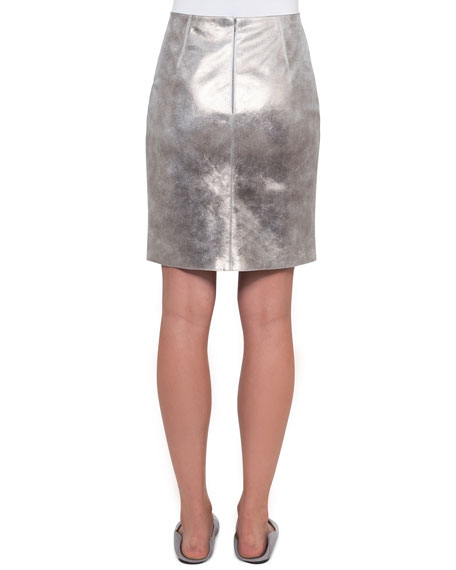 Pearlescent Leather Skirt