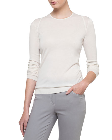 Cashmere-Silk Long-Sleeve Pullover