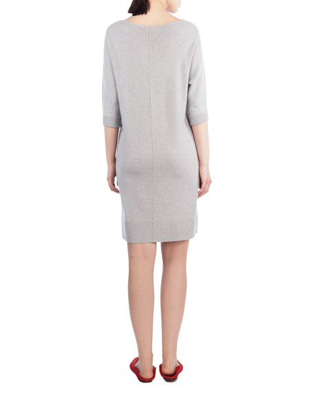 3/4-Sleeve Cashmere Tunic Dress