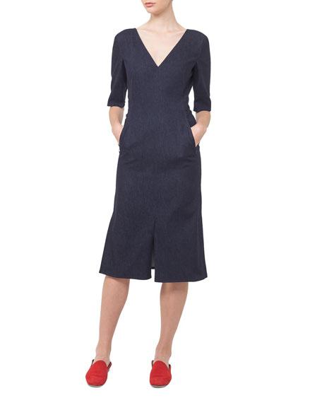 V-Neck Denim A-Line Dress