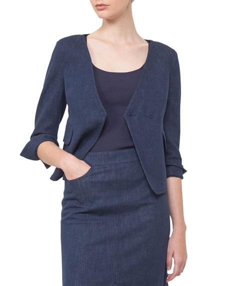 Short Denim Wrap-Front Jacket