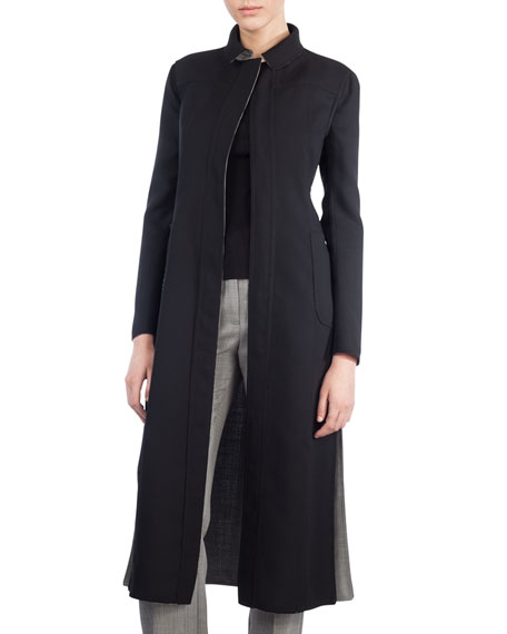 Reversible Long Wool-Blend Coat